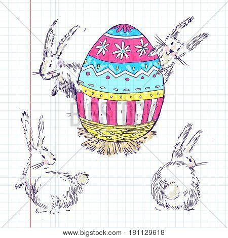 Handdrawn vector happy easter set with big decorated egg and cute white bunnies look out for egg. Bunny looks, bunny sits back. Bright pink, blue and yellow colors. Cute child drawn style.