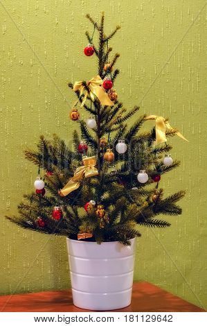 Decorative Christmas tree with decorations in the white pot on green background of the wall.