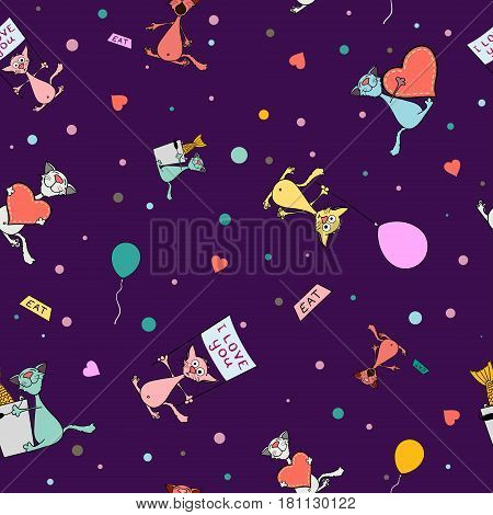 Cartoon seamless pattern of cute cats. Stock vector background.