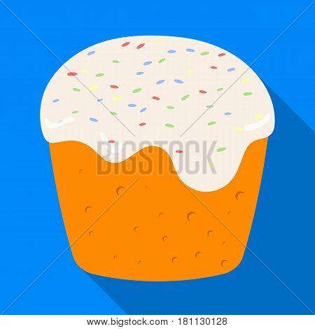 Cake with white fondant. Easter single icon in flat style vector symbol web stock illustration.