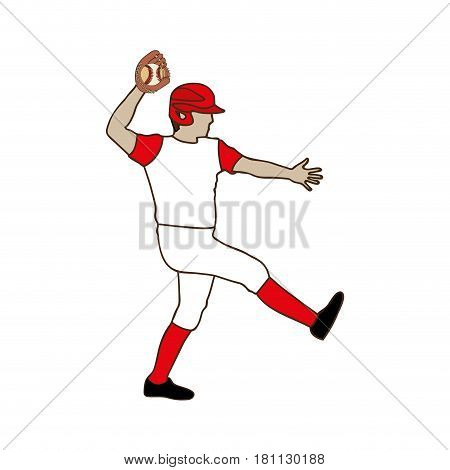 silhouette color with baseball pitcher vector illustration