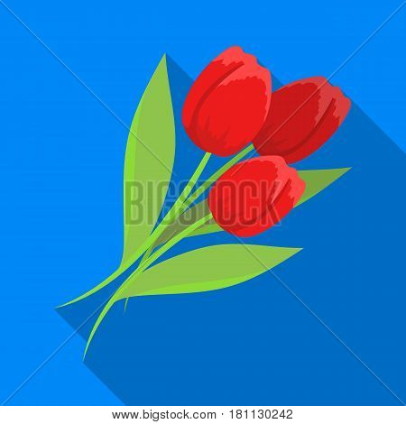 Bouquet of red tulips. Easter single icon in flat style vector symbol stock web illustration.