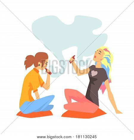 Young Hipster Girls Smoking Vaporizers Sitting On The Floor Illustration With Cool Vapers. Cartoon Vector Characters Using Alternative Ways To Smoke Tobacco.