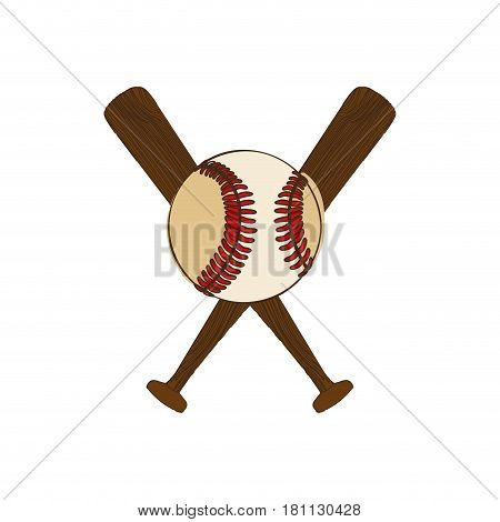 silhouette color with baseball bats and ball vector illustration