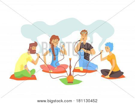 Young Cool Hipsters Smoking Hookah Sitting On The Floor Illustration With Smokers And Vapers. Cartoon Vector Characters Using Alternative Ways To Smoke Tobacco.