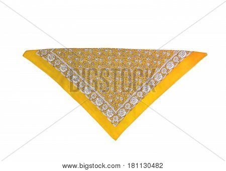 a Yellow kerchief-bandana with a pattern isolated.