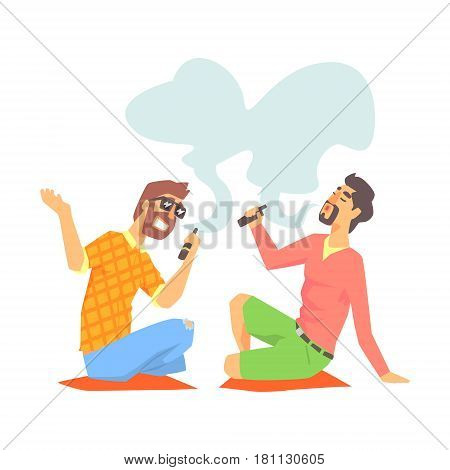 Young Hipster Guys Smoking Vaporizers Sitting On The Floor Illustration With Cool Vapers. Cartoon Vector Characters Using Alternative Ways To Smoke Tobacco.