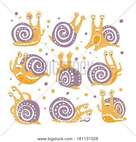 Yellow Snail With Purple Shell Different Poses Set Of Stylized Vector Flat Illustrations In Artistic Style. Original Design Childish Stickers With Mollusk In A Shell Cute Character Activities.