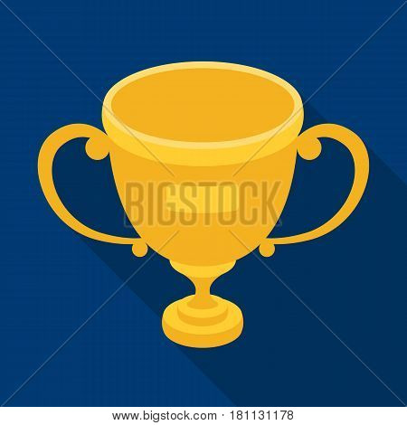 Gold cup of the winner.Fans single icon in flat  vector symbol stock illustration.