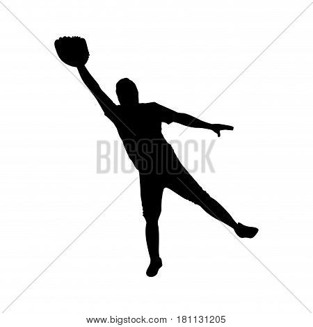 monochrome silhouette with baseball catcher vector illustration