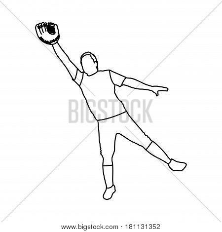 monochrome contour with baseball catcher vector illustration