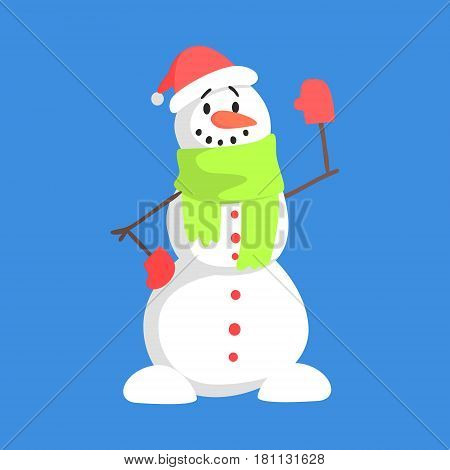 Alive Classic Three Snowball Snowman In Santa Claus Hat And Green Scarf Greeting Cartoon Character Situation. Funny Childish Humanized Snow Sculpture Isolated Flat Vector Illustration On Blue Background.