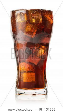 Cola with ice cubes isolated on white background