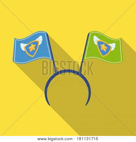 Headgear fan with flags.Fans single icon in flat  vector symbol stock illustration.