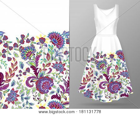 Vertical seamless fashion background. Women's dress mock up with colorful seamless hand drawn pattern for textile, paper print. Isolated colorful dress and vertical seamless background, vector