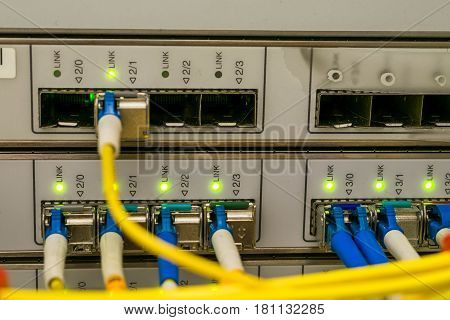 Optical links and ports empty seat in the central server which is located in the data center