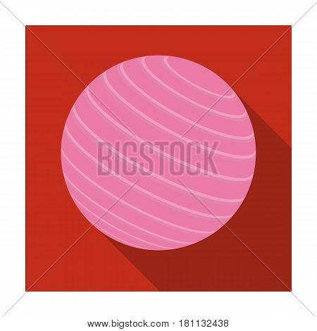 Pink rubber bouncy ball for exercises . Fitball for fitness.Gym And Workout single icon in flat style vector symbol stock web illustration.