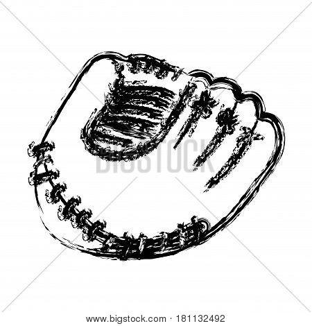 monochrome sketch of baseball glove vector illustration