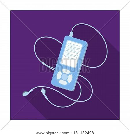 MP player for listening to music during a workout.Gym And Workout single icon in flat style vector symbol stock web illustration.