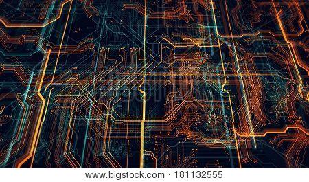 Circuit board futuristic server code processing. Orange green blue technology background/Printed circuit board futuristic server