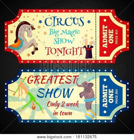 Circus retro tickets with animals acrobats magic hat isolated illustration