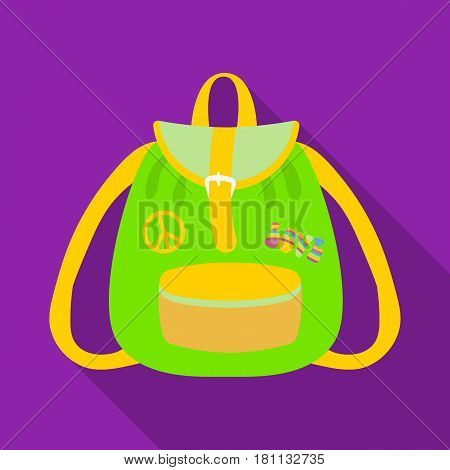 Green hippy backpack.Hippy single icon in flat style vector symbol stock illustration .