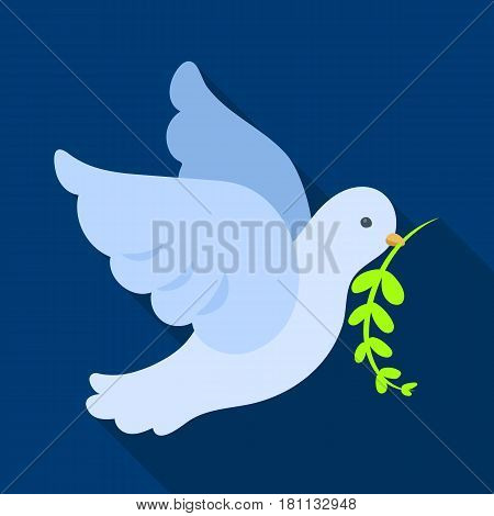 Pigeon of the World with a twig in its beak.Hippy single icon in flat style vector symbol stock illustration .