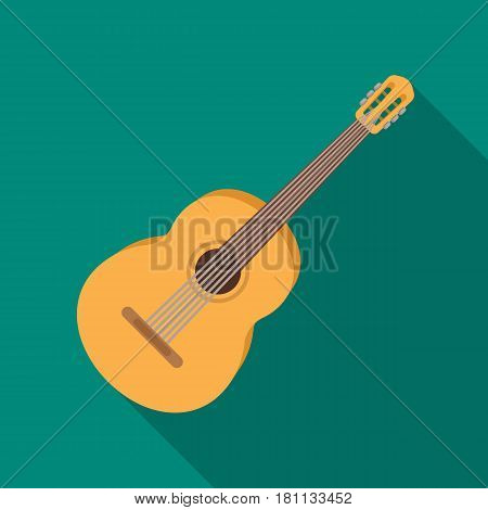 Yellow guitar.Hippy single icon in flat style vector symbol stock illustration .