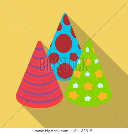 Caps in the form of cones for party.Party and parties single icon in flat style vector symbol stock web illustration.