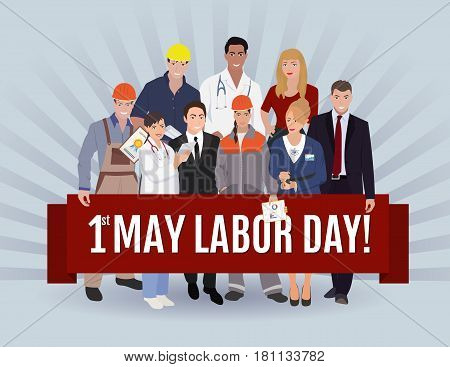 Labor day greeting illustration. People group different occupation with banner and inscription 1st May Labor Day. Set, International Labor Day Flat Vector Illustration