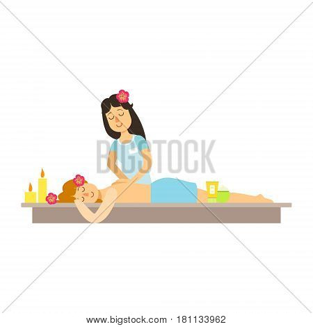 Woman having a massage with massage oil in a spa. Health massage healing concept. Colorful cartoon character isolated on a white background