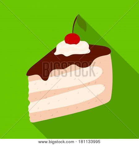 Sweet cake with cherry and leaf.Party and parties single icon in flat style vector symbol stock web illustration.