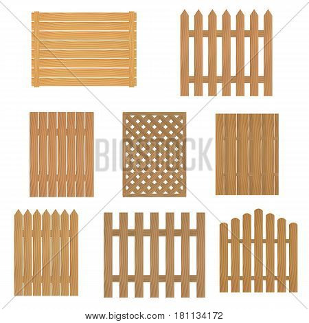 Different types of wooden fence. Fence of wood for your site or farm. Vector illustration.