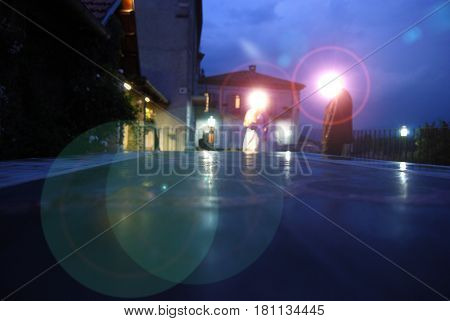 special light effects in a  wedding location at the sunset