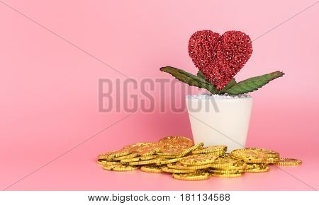 Gold money makes love flower grows concept with copy space