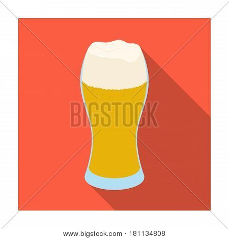 A glass of wheat beer with foam.Alcoholic beverage to relax. Pub single icon in flat style vector symbol stock web illustration.