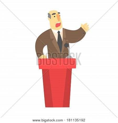 A man public speaking behind a red tribune in a brown suit, a colorful character isolated on a white background