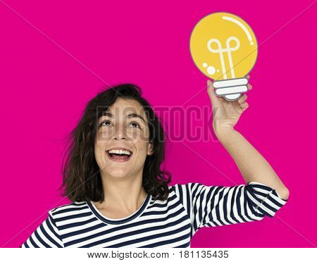 Woman Hold Light Bulb Think Ideas Create
