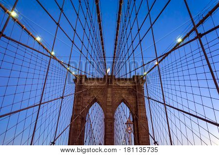 Brooklyn Bridge. Image of the famous Brooklyn Bridge at sunset