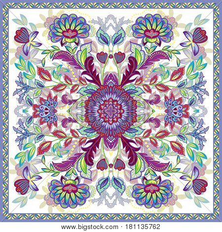 Lovely tablecloth ethnic indian flowers. Beautiful vector ornament. Card, bandana print, kerchief design, napkin. Bright colorful ornate pattern on white. Ready for print.