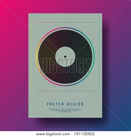Abstract Vinyl Record Cover Design - Vector illustration template