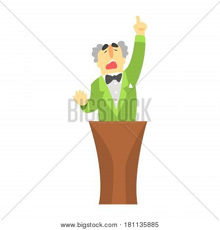Man in green jacket standing behind the tribune and pointing his finger up, a colorful character isolated on a white background