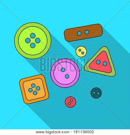 Buttons for clothes.Sewing or tailoring tools kit single icon in flat style vector symbol stock web illustration.
