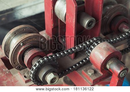 Industrial Equipment Fragment With Chain Belt