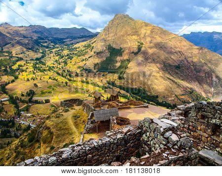 Inca fortress ruins Pisaq in Urubamba river Sacred Valley, Peru, South America.