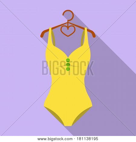 Monotone yellow swimsuit for girls. Bathing clothes in the pool.Swimcuits single icon in flat style vector symbol stock web illustration.