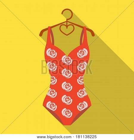 Crashing red swimsuit with a print of roses. Beach wear.Swimcuits single icon in flat style vector symbol stock web illustration.