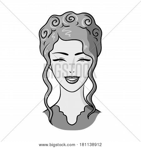 Avatar of a Japanese girl with a hair.Avatar and face single icon in monochrome style vector symbol stock web illustration.