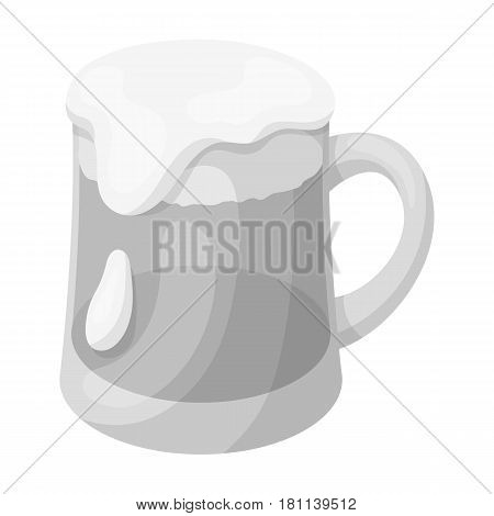 A glass of foamy Belgian beer.The dark Belgian wolf. Belgium single icon in monochrome style vector symbol stock web illustration.