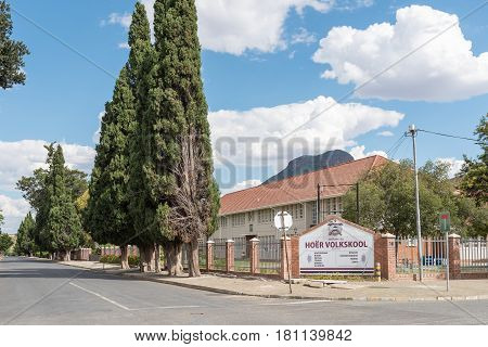 GRAAFF REINET SOUTH AFRICA - MARCH 22 2017: A secondary school Hoër Volkskool in Graaff Reinet in the Eastern Cape Province